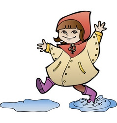Little girl in rain coat strides through puddles vector image vector image