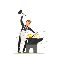 man in a business suit and white apron forging vector image