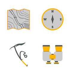 Map compass ice ax binoculars flat icons vector