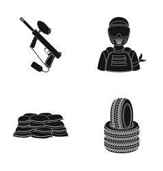 Paintball marker player and other accessories vector