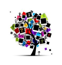 photo frames tree vector image vector image