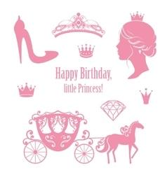 Princess cinderella set collections vector