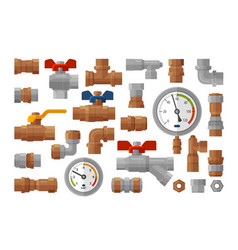 Sanitary engineering plumbing equipment set icons vector