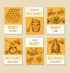 set of cards for honey products healthy vector image vector image