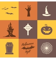 Set of halloween icons isolate on multicolor vector image vector image