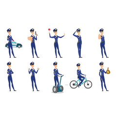 Set of police woman characters vector
