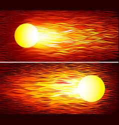 set of two fireballs vector image