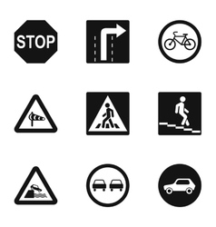 Sign warning icons set simple style vector