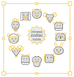 thin line icons set chinese zodiac-yellow vector image vector image