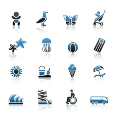 tourism recreation vacation icons set vector image vector image