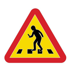 traffic sign warning pedestrian smartphone vector image