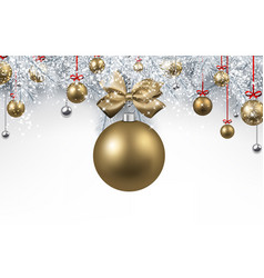 white background with golden christmas ball vector image