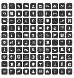 100 shield icons set black vector