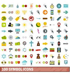 100 symbol icons set flat style vector