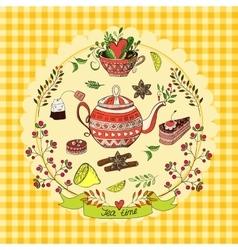 Tea time elements vector image
