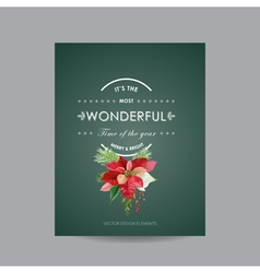 Christmas invitation poinsettia greeting card vector