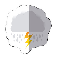 color sticker of cloud with rain and lightning vector image