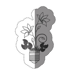 Sticker grayscale contour with light bulb base vector