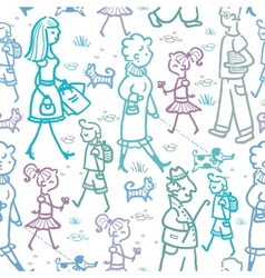 People walking seamless pattern background and vector
