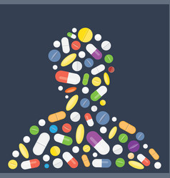 Heap of tablets capsules and pills vector