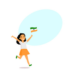 Cartoon indian girl running with little indian vector