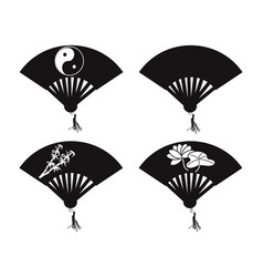 Chinese fan icons vector