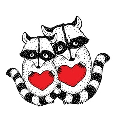 Cute raccoon with heart in hands vector