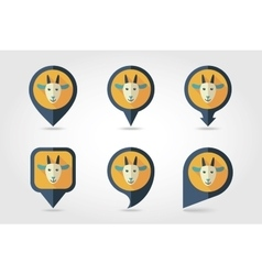 Goat mapping pins icons vector