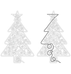 Christmas tree maze vector