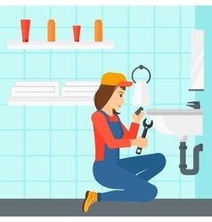 Woman repairing sink vector
