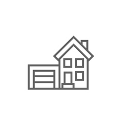 House with garage line icon vector