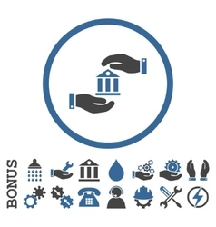 Bank service flat rounded icon with bonus vector