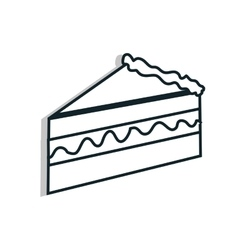Delicious and fresh cake in black and white colors vector