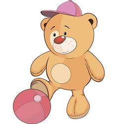 A stuffed toy bear cub a soccer player cartoon vector