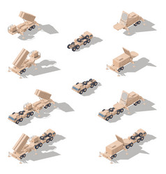 air defense missile system isometric icon set vector image