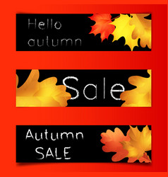 autumn sale banners black board with chalk vector image vector image