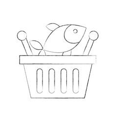 Basket shopping fresh fish market seafood vector