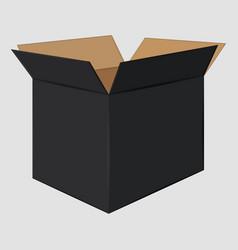 Black cardboard open box side view package design vector