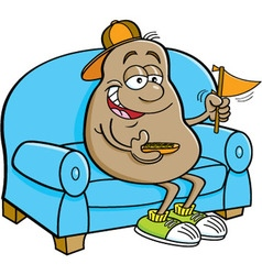 Cartoon potato sitting on a couch vector
