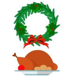 Christmas wreath and festive vector