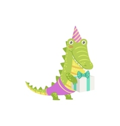 Crocodile cute animal character attending birthday vector