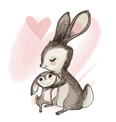 cute little hare with mom vector image