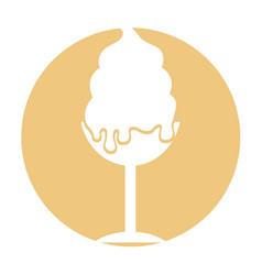 Delicious ice cream cup icon vector