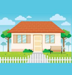 Family house and garden home exterior vector