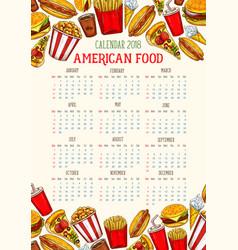 Fast food calendar 2018 template sketch vector