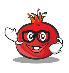 Geek face pomegranate cartoon character style vector