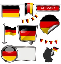 Glossy icons with German flag vector image vector image