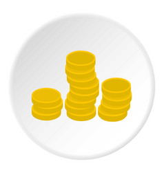 Gold coins icon circle vector