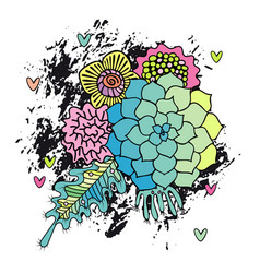 Hand drawn abstract flower bouquet vector