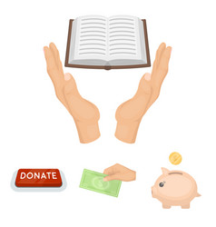 Hand with money for poshestvovaniya a piggy bank vector